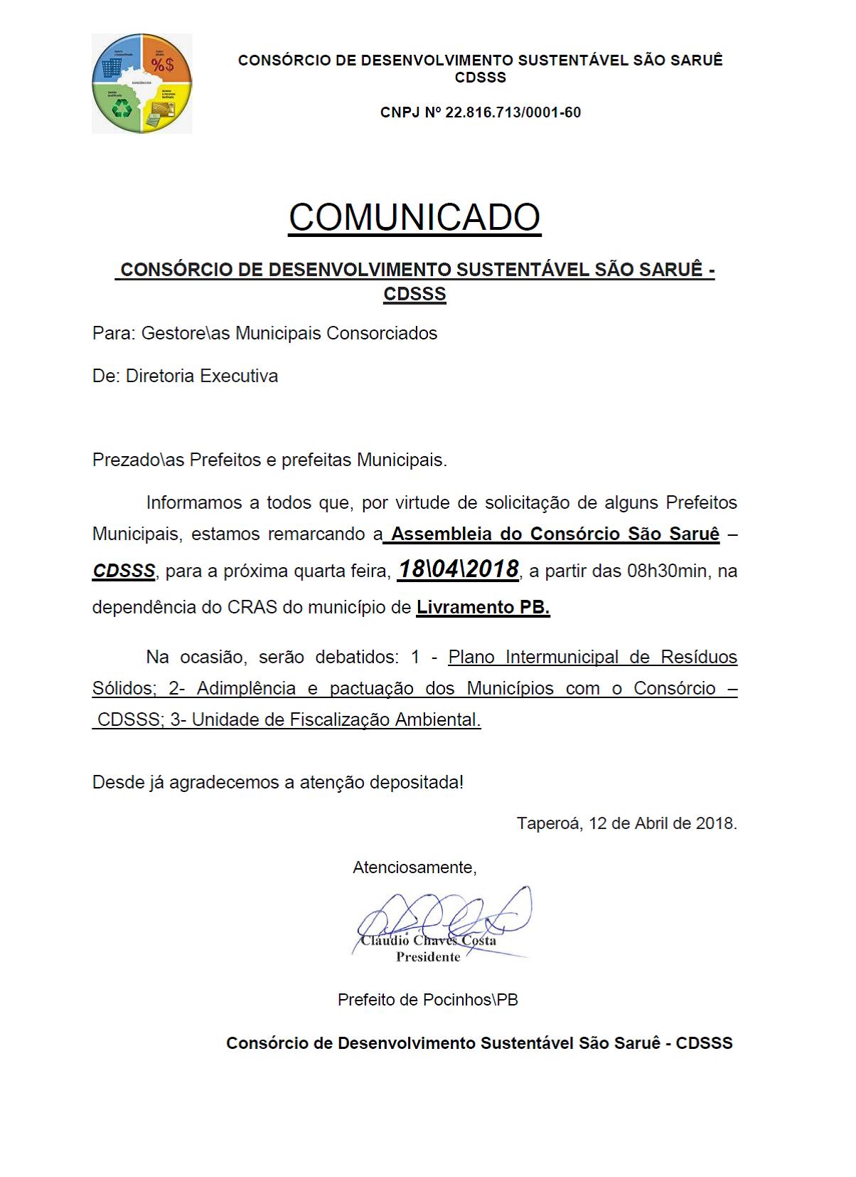 Comunicado São Saruê